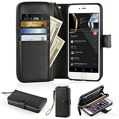 iPhone 6 Plus Zipper Wallet Case, iPhone 6s Plus Wallet Case,JLFCH Leather Wallet Zipper Case with card holder,Full Frame Protection Case For iPhone 6 Plus/iPhone 6s Plus 5.5 inch,Black