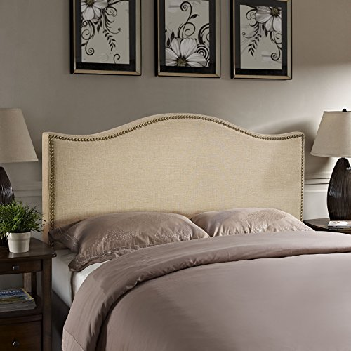 Modway Curl Upholstered Linen Headboard With Nailhead Trim...