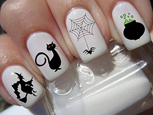 Halloween Nail Decals graveyard gothic nail art design set witches cauldron Buy one get one free of our choice -