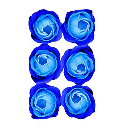 Ouniman 6 Pcs Scented Bath Soap Rose Flower with Gift Box, Romantic Rose Soap Flower Great Gift for Anniversary Birthday Wedding Mother's Day Valentine's Day - Blue