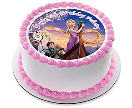 PRINCESS PALACE PETS PINK HAPPY BIRTHDAY 7.5 INCH PRECUT EDIBLE CAKE TOPPER