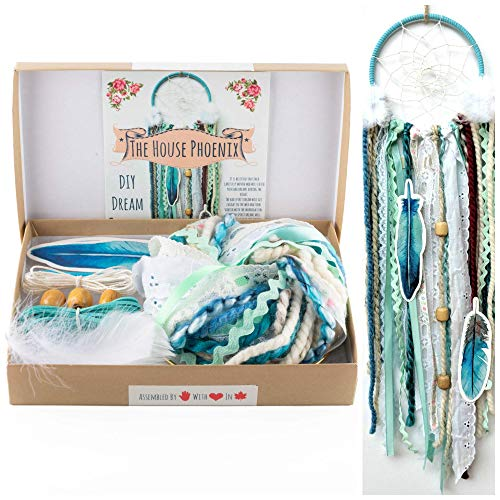 DIY Dream Catcher Kit Stocking Stuffer Christmas Gift Aqua Blue Make Your Own Craft Project from The House Phoenix