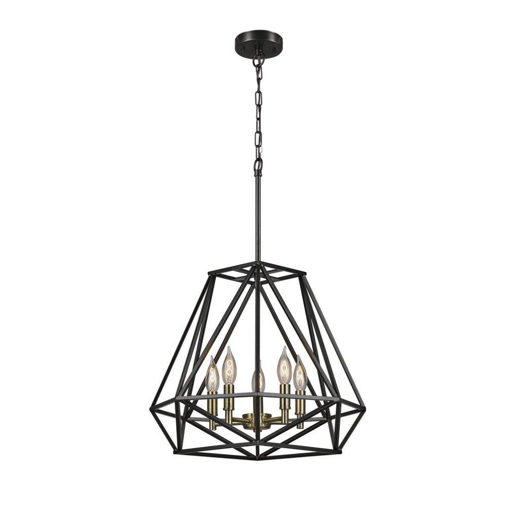Globe Electric 65435 Sansa 5-Light Chandelier, Dark Bronze, Antique Brass Accents