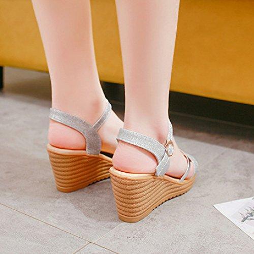 Hope Ladies Women Wedge Sandals Fashion Peep Toe Sling Back Bride Dress Wedding Party Evening Shoes Silver ohU4uSHi