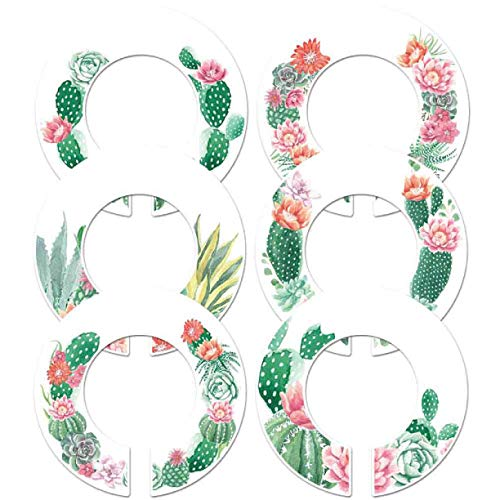 6 Baby Girl Nursery Clothes Size Closet Rod Divider Tags Cactus (1.5 Inch Rod)
