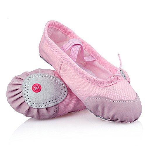[LONSOEN Ballet Slipper Shoes Split-Sole Dance Flat for Girls (Toddler/Little Kid/Big Kid), Pink, 10 M US] (Shoes For Child)