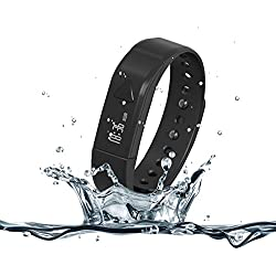 007plus T5 Bluetooth Smart Bracelet with Pedometer Sleep Tracker for IOS and Android Phones (Black)