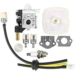 Savior RB-K75 Carburetor with Gaskets Primer Bulb Air Fuel Filter Lines Spark Plug for ECHO GT-200 SRM-210 SRM-211 PE-200 HC-150 Trimmer Zama Carburetor A021000740 A021000741