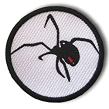"""[Single Count] Custom and Unique (3"""" Inch) Rounded Imperfect Slate Sable Charcoal Spooky Scary Black Widow Spider Crawling Circular Shaped Iron On Embroidered Applique Patch {Black, Red, & White Colors}"""