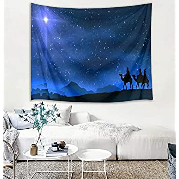HVEST Starry Sky Tapestry Star of Bethlehem Leads Three Wise Men to The Birthplace of Jesus Wall Hanging Blanket Christmas Tapestries for Bedroom Living Room Dorm Decor,60Wx40H inches