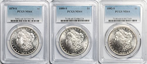 1879, 1880, 1882 S Morgan Silver Dollar Set MS64