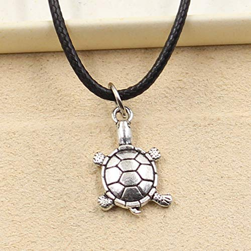 (Turtle Necklace - Tibetan Silver Pendant Tortoise Turtle Necklace Choker Charm Black Leather Cord Factory Price Handmade Jewelry)