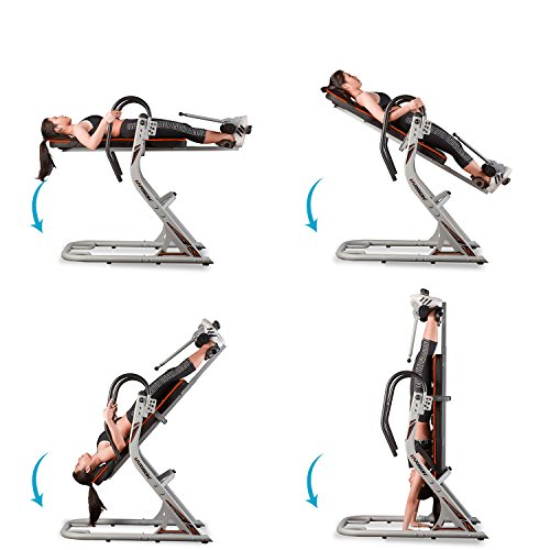 HARISON Inversion Table for Back Pain Relief with 180 Full Inversion, Heavy Duty Back Inversion Chair with Memory Foam for 3D Backrest, Adjustable Four Angle, 4.8''-6.5'' for Height