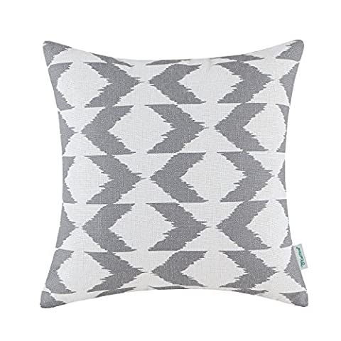 CaliTime Canvas Throw Pillow Cover Case for Couch Sofa Home Decor, Ikat Malposed Zigzag Chevron Geometric, 18 X 18 Inches, Gray