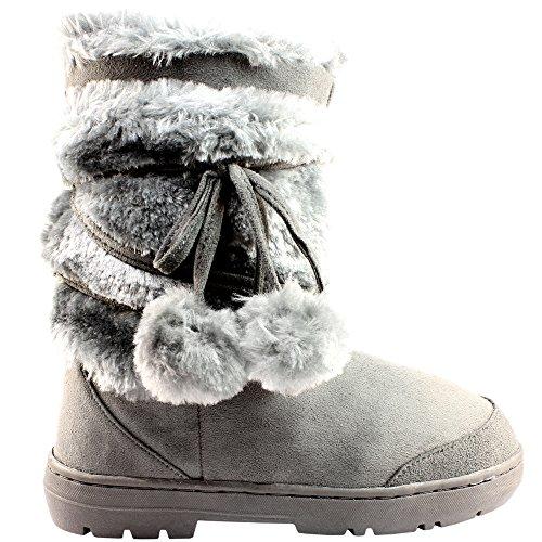 Completamente Grigio Allineato Boots Snow Impermeabile Invernale Pom Pelliccia Womens 6 B5xZHnq5