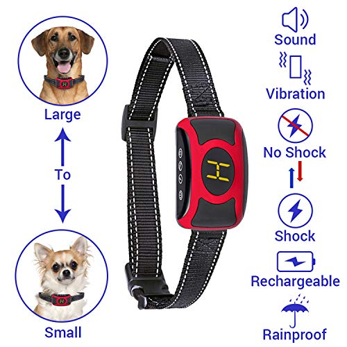 Bark Collar for Small Large Dogs [New Model] Rainproof Micro Chipped Dogs Puppies Anti Bark Training Shock Collar with Beep Vibration for Husky Beagles Bassets Jack Russell Terrier Chihuahua Shihtzu