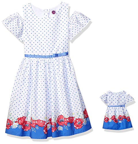 Dollie & Me Cold Shoulder Dress Set with Matching Outfit-Girl & 18 Inch Doll Clothes, White 7 -