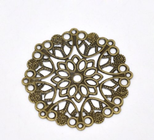 - Housweety 50 Bronze Tone Filigree Flower Wraps Connectors 35mm