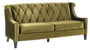 Amazon.com: Barrister Diamond Tufted High Back Sofa in Olive ...