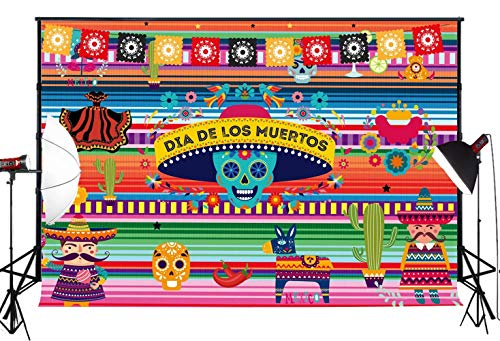 Muzi 7x5ft Summer Mexican Fiesta Theme Party Backdrop Carnival Dia De Los Muertos Dress-up Baby Shower Birthday Photo Booth Banner for Background Studio Props W-927
