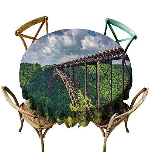 Spill-Proof Table Cover Apartment Decor Collection The New River Gorge Bridge Seen from Canyon Rim Visitor Center Overlook Image High-end Durable Creative Home 70 INCH Green Blue White
