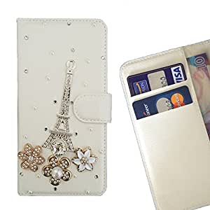 FOR Microsoft Lumia 950 XL Pasis Tower Flower Bling Bling PU Leather Waller Holder Rhinestone - - OBBA