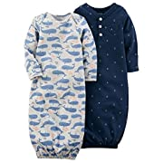 Carter's Baby Boys' 2-Pack Babysoft Whale Sleeper Gowns Newborn