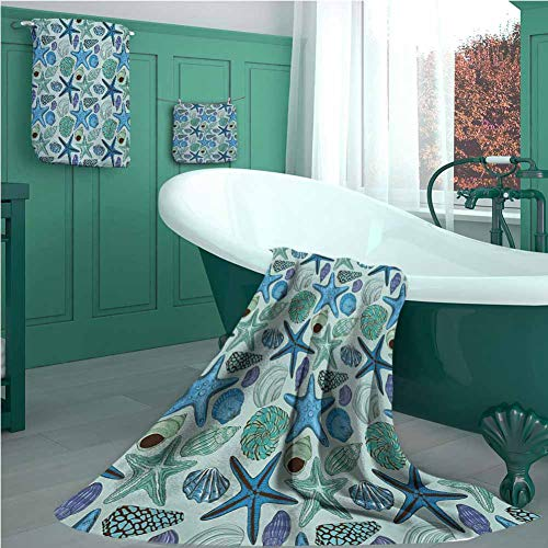 Customblanket Starfish 3 Piece Bath Towel Set, Aquarium Inspired Composition Tropical Seashells and Scallops Cockles and…