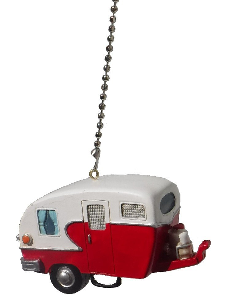 WeeZ Industries Red & white Retro Camper Trailer RV Ceiling Fan Pull Chain
