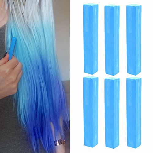 Electric Blue Miley Cyrus Hair Style Temporary Hair Dye | Crazy Blue Hair Dye | AQUA BLUE Hair Color | With Shades of Blue Set of 6 Hair Chalk | - Cyrus Shades Miley On