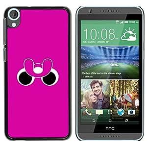 Divertidos Ojos Rosa Púrpura minimalista - Metal de aluminio y de plástico duro Caja del teléfono - Negro - HTC Desire 820