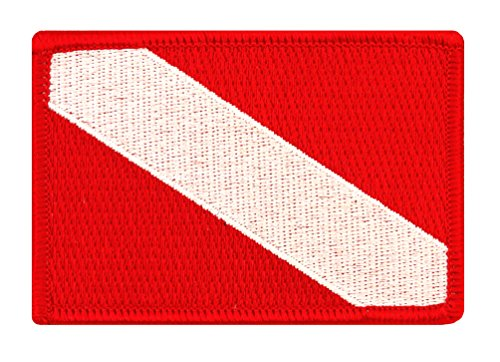 Scuba Patch - Diver Down Flag Patch Embroidered Iron On Scuba Diving Emblem Souvenir