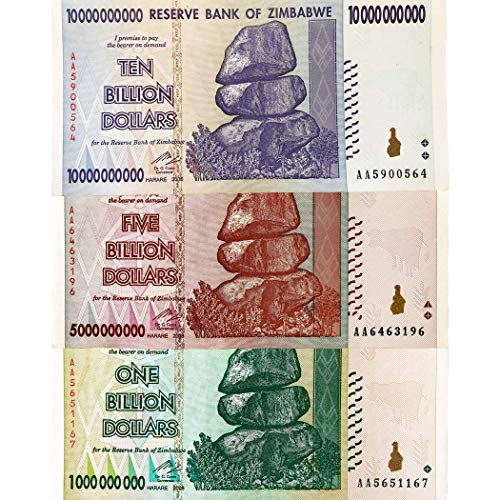 1, 5, 10 Billion Dollar Zimbabwe Banknotes Circulated (Zimbabwe Currency Circulated)