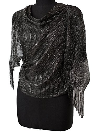 Womens Wedding Evening Wrap Shawl Fringe Prom Weddings Party Evening Scarfs for Women (Black)