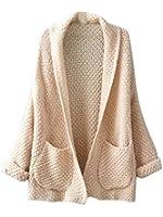 Choies Women's Lapel Pocket Detail Open Front Long Sleeve Knit Wear Cardigan Sweater