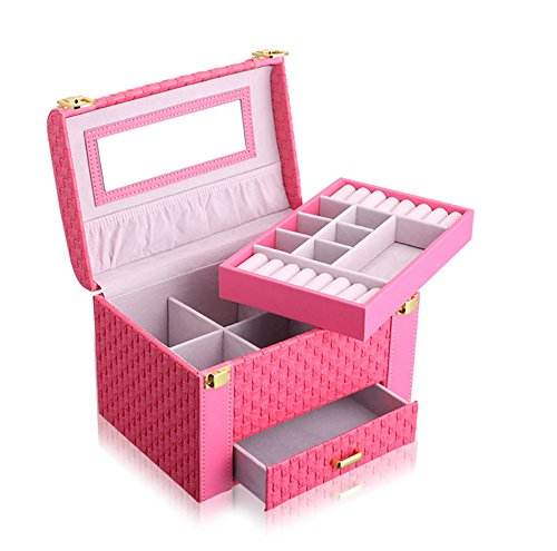 KUKI SHOP Synthetic Leather 3-Layer Large Capacity Portable Jewelry Storage Organizer Box with Mirror and Drawer for Necklace Earrings Bracelets Hairpieces Rings Brooches (Rose)
