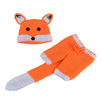 Xinqiao Newborn Baby Fox Hat Knitted Pant Set Photography Skull Beanie Outfits (Orange Fox): Clothing