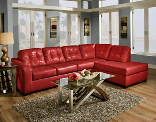 (Yuan Tai Soho Bicast Leather Sectional Furniture Set, Red)
