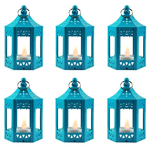 6pc Mini Blue Candle Lanterns with Flickering LED Tea Light Candle, Batteries Included