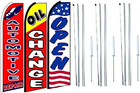 Automotive Repair,Oil Change Open King Swooper Feather Flag Sign Kit with Complete Hybrid Pole Set Pack of 3