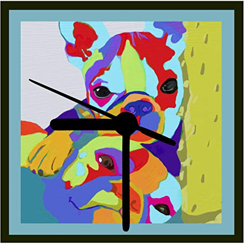 Friends,Boston Terrier Art Clock Designed from Original Art, 2 Sizes Available, Desk Clock, Wall Clock, Includes Stand, Gift Boxed Battery Operated Quiet Quartz Movement
