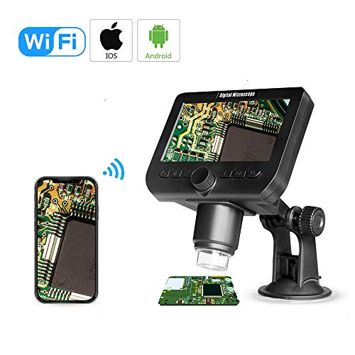 Cainda 1000X WiFi Digital Microscope for iPhone Android Phone 4.3 Inch LCD Microscope 2MP for Kids Students and Adults, 1080p USB Microscope Camera with Flexible Stand