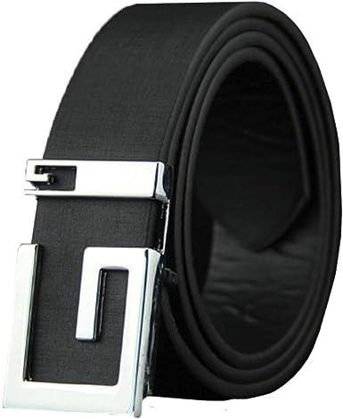 Fashion Mens Genuine Leather Ratchet Belt Automatic Buckle Waist Strap Waistband