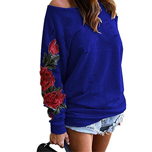 Embroidery Navy Blue Hoodie - 4
