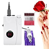 30000 RPM Electric Nail File Drill Machine with Display Screen, Portable Cordless Rechargeable Grinding Polisher with 6pc Drill Bits Nail Art Equipment for Professional or Home Use