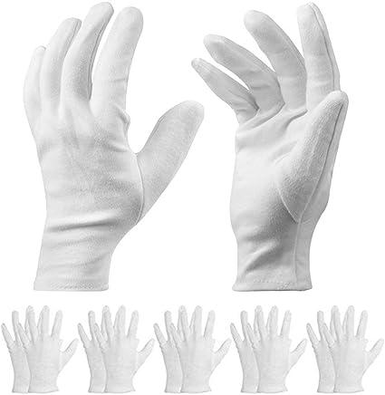 10 pares de guantes de algodón blanco – Guantes terapéuticos hidratantes cosméticos para manos secas, ecczema, belleza, monedas, joyería e inspección de plata – Unisex: Amazon.es: Belleza