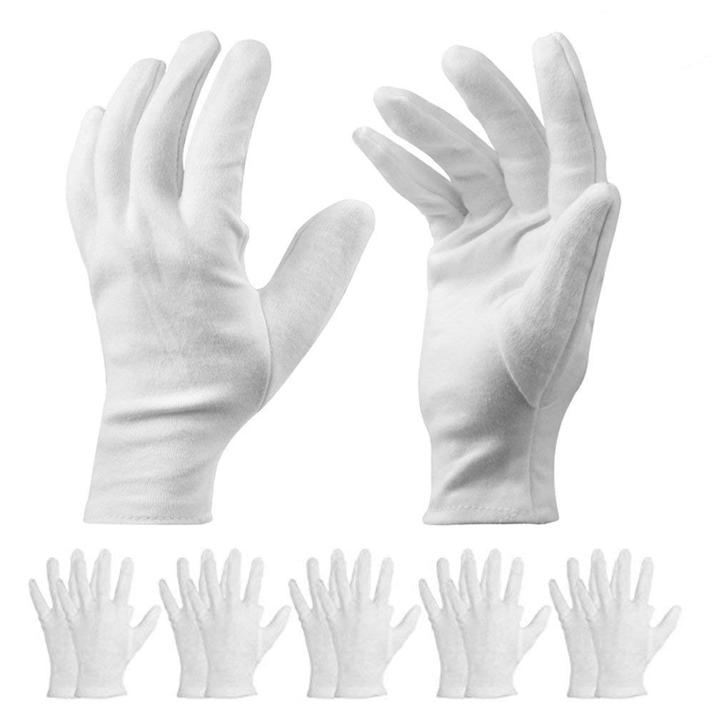20 Pack White Cotton Gloves - 9.8inch Long Work Gloves Cosmetic Moisturizing Gloves for Dry Hands & Eczema, Jewelry Inspection and More - Large Size