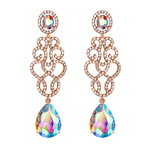 BriLove Women's Wedding Bridal Crystal Floral Filigree Teardrop Chandelier Dangle Earrings Clear AB Gold-Tone