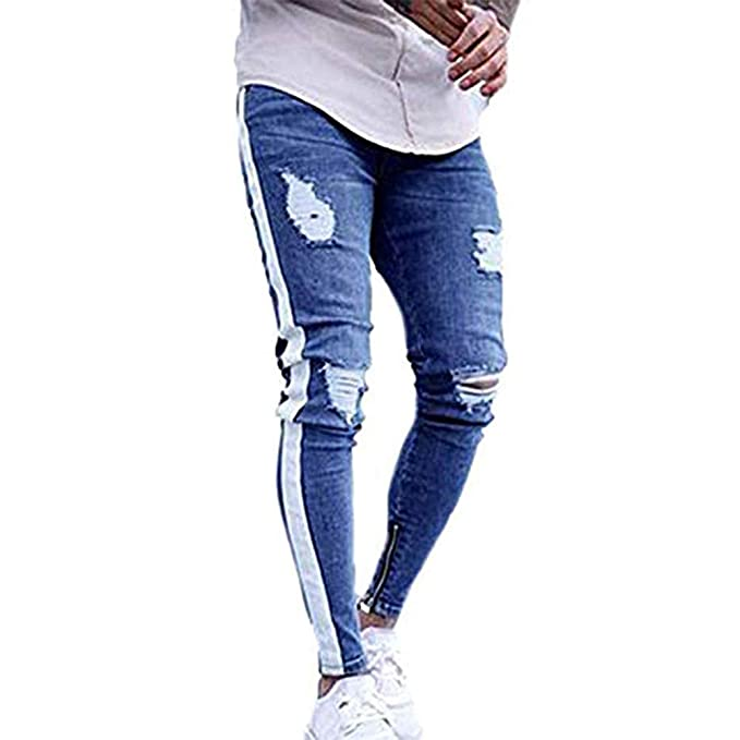 FUOE Mens Casual Slim Fit Denim Jeans Ripped Skinny Distressed Destroyed Side Striped Zipper Holes Pants Jeans