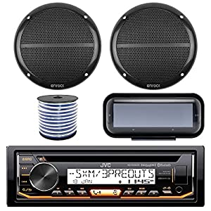 "JVC KD-R97MBS In-Dash Marine Boat Bluetooth Radio USB CD Receiver Bundle Combo With Pair Enrock EKMR1672 6.5"" Black Dual-Cone Stereo Speakers + Stereo Waterproof Cover + 18g 50FT Marine Speaker Wire"